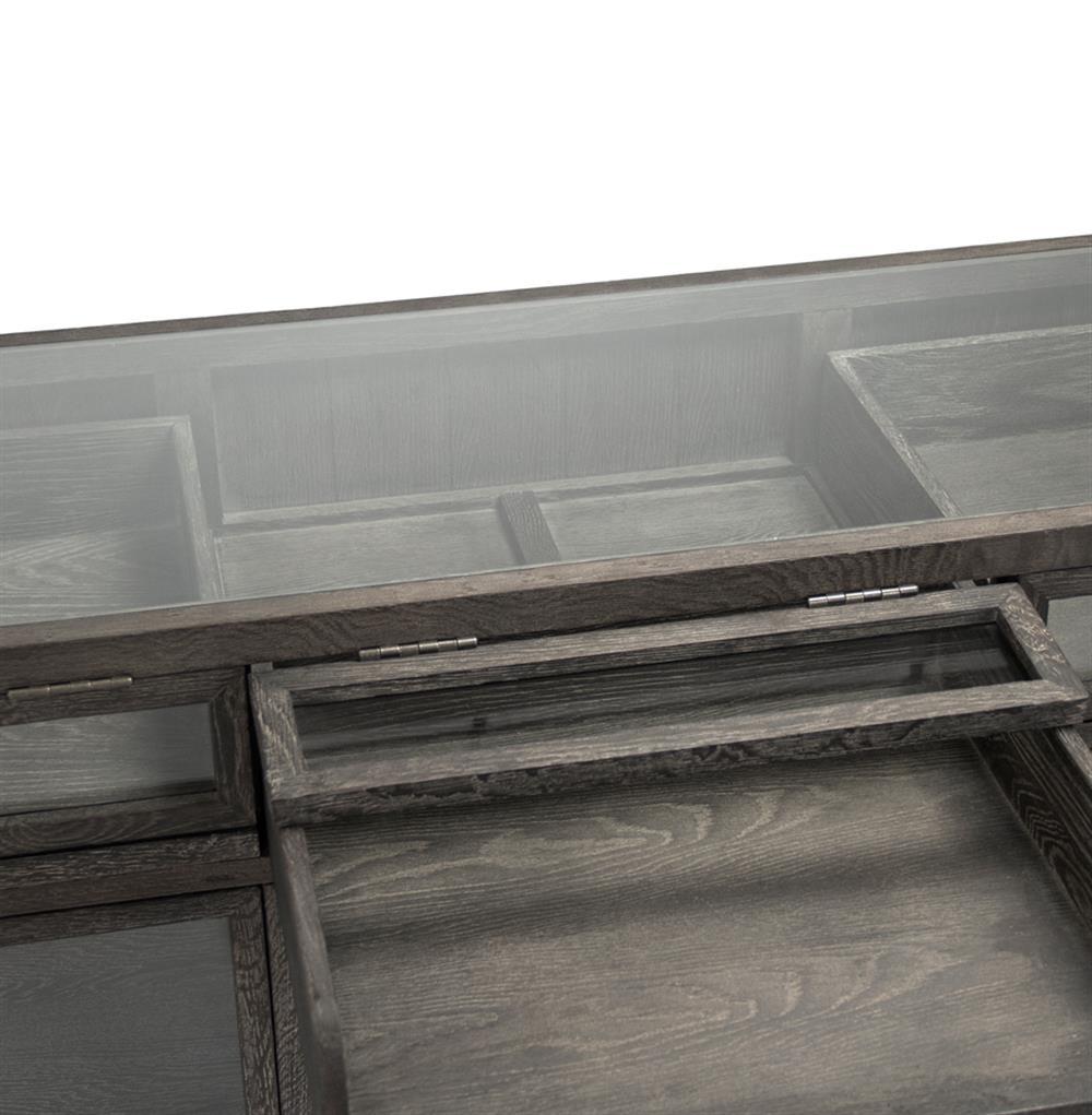 ... Hazel Creek Industrial Loft Grey Oak Display Media Wall Cabinet | Kathy  Kuo Home