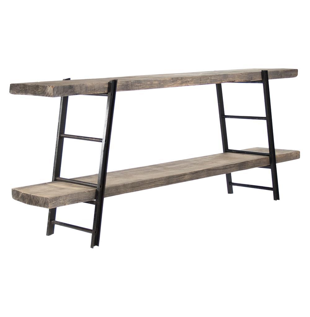 boulder reclaimed wood industrial iron rustic slab media console kathy kuo home view full size - Reclaimed Wood Media Console