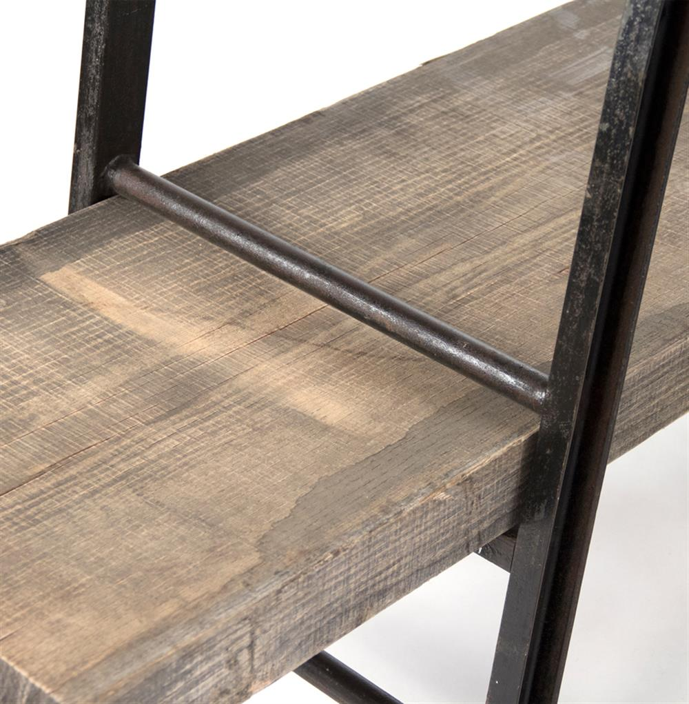boulder reclaimed wood industrial iron rustic slab media console kathy kuo home - Reclaimed Wood Media Console