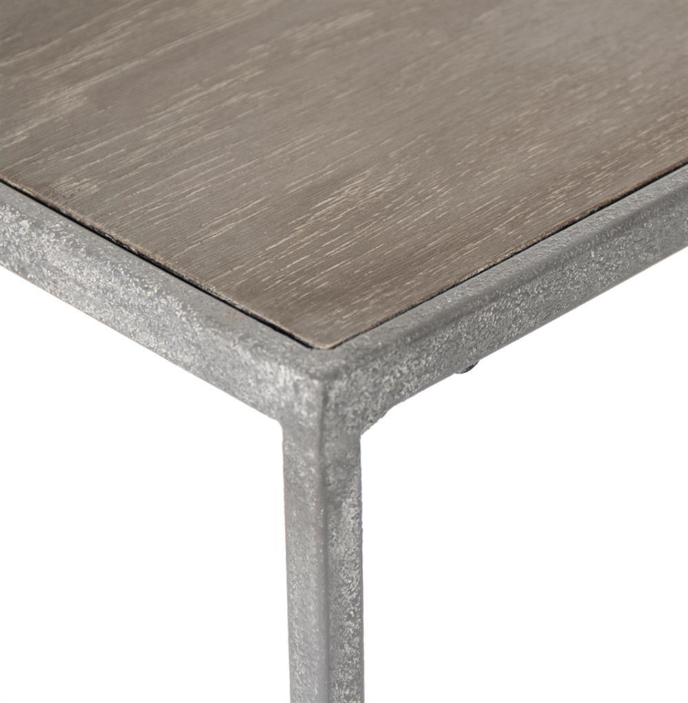 Bleecker Modern Rustic Industrial Grey Steel Reclaimed Oak Console Table |  Kathy Kuo Home