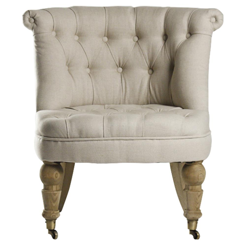 Amelie French Country Natural Linen Tufted Accent Chair