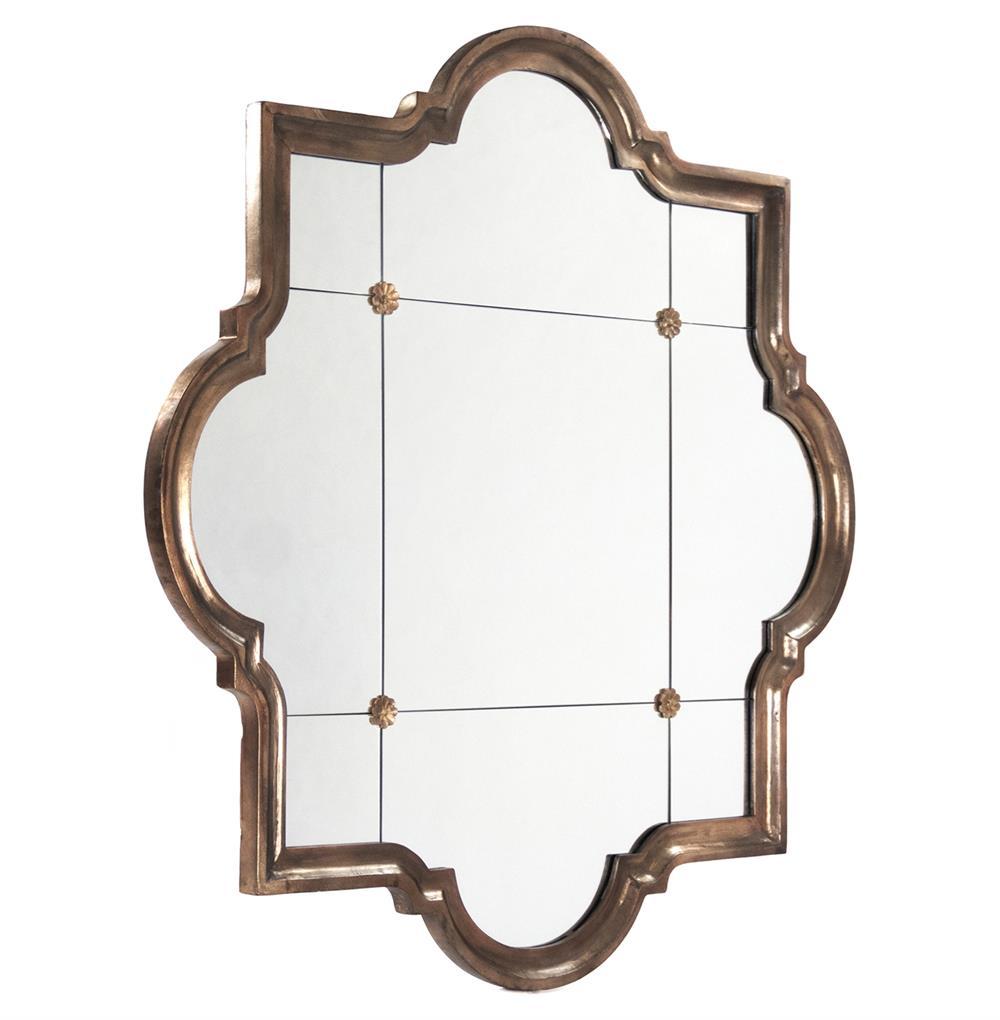 Marissa Quatrefoil Antique Bronze Large Mirror Kathy Kuo