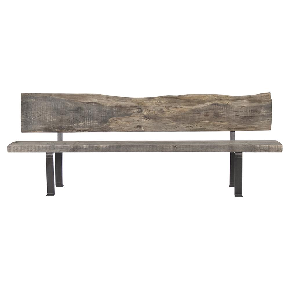 Boulder Reclaimed Wood Heavy Iron Rustic Slab Long Bench Kathy Kuo Home