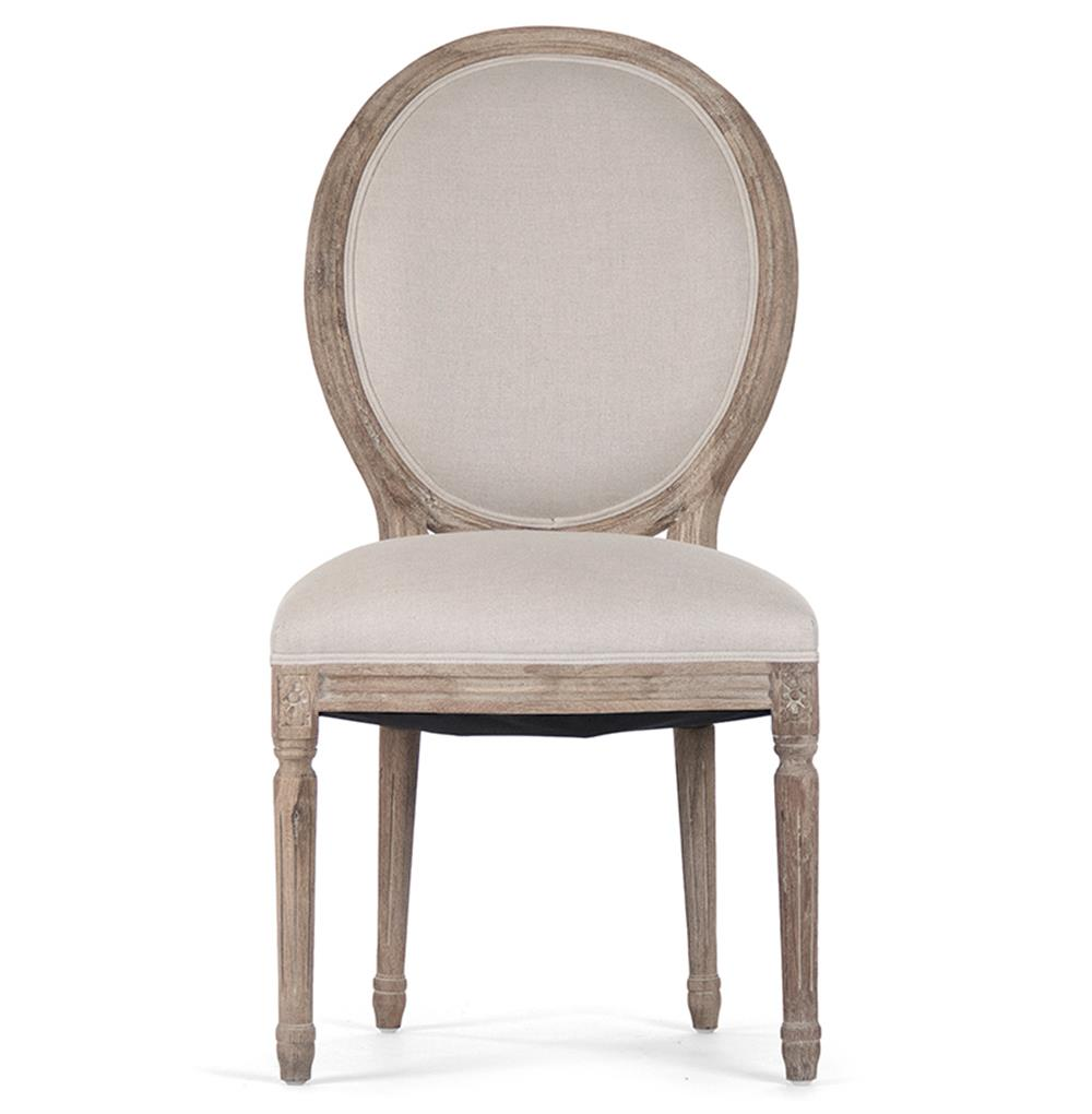Pair Madeleine French Country Oval Linen Limed Oak Dining