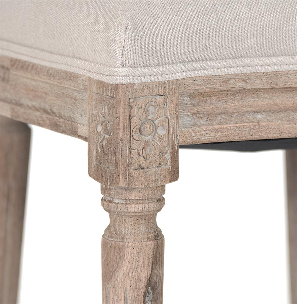 Madeleine French Country Oval Linen Limed Oak Dining Side