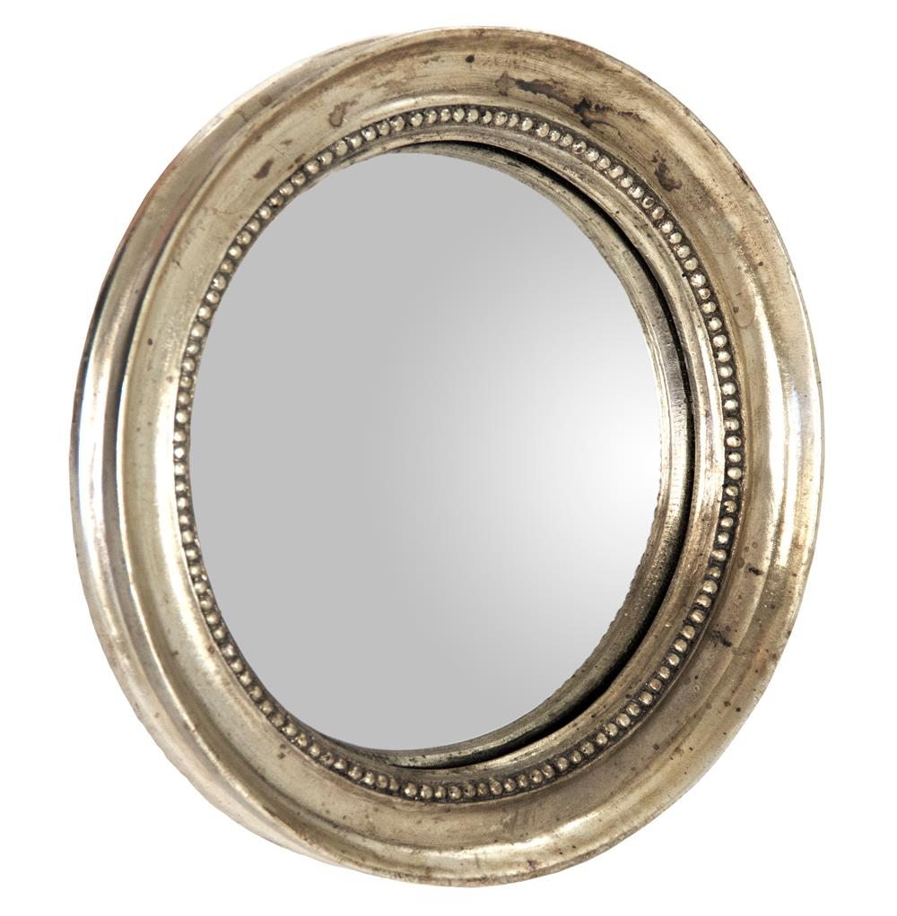 Julian antique gold champagne small round convex mirror for Convex mirror for home