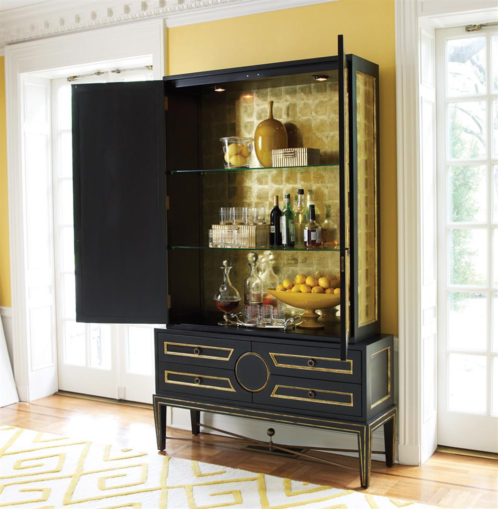 Rutherford Hollywood Regency Black Gold Leaf Eglomise Collectors Cabinet Kathy Kuo Home