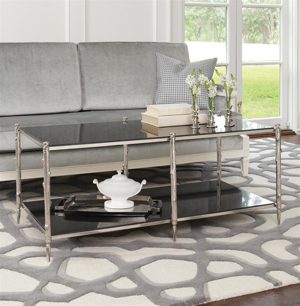 Spring Lake Global Twig Black Marble Silver Coffee Table Kathy Kuo Home