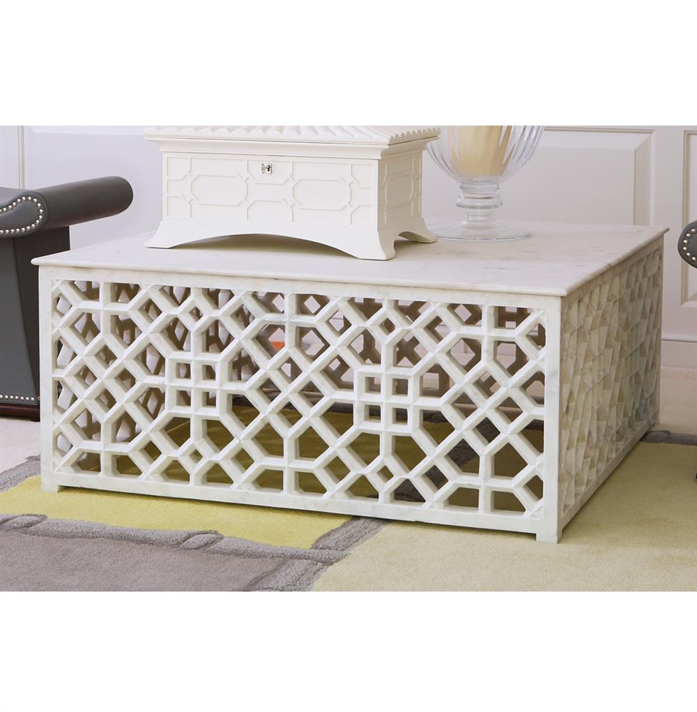 Marble Coffee Table Cleaner: Mamounia Global Bazaar White Marble Fretwork Square Coffee