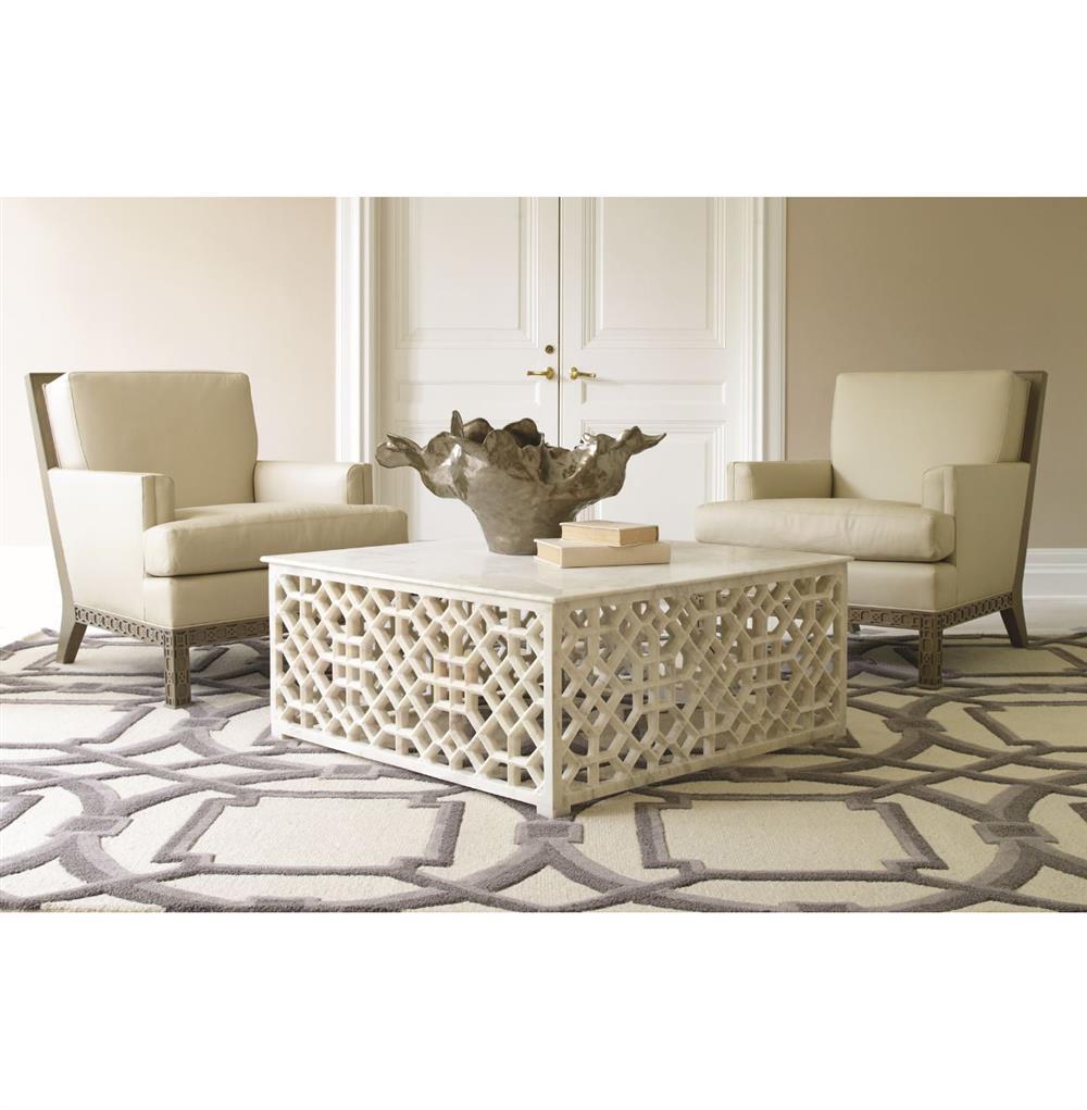 Fretwork Coffee Table.Mamounia Global Bazaar White Marble Fretwork Square Coffee Table