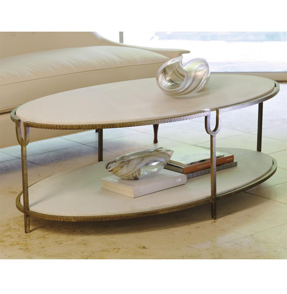 Katherine Hollywood Regency Ivory Stone Oval Coffee Table