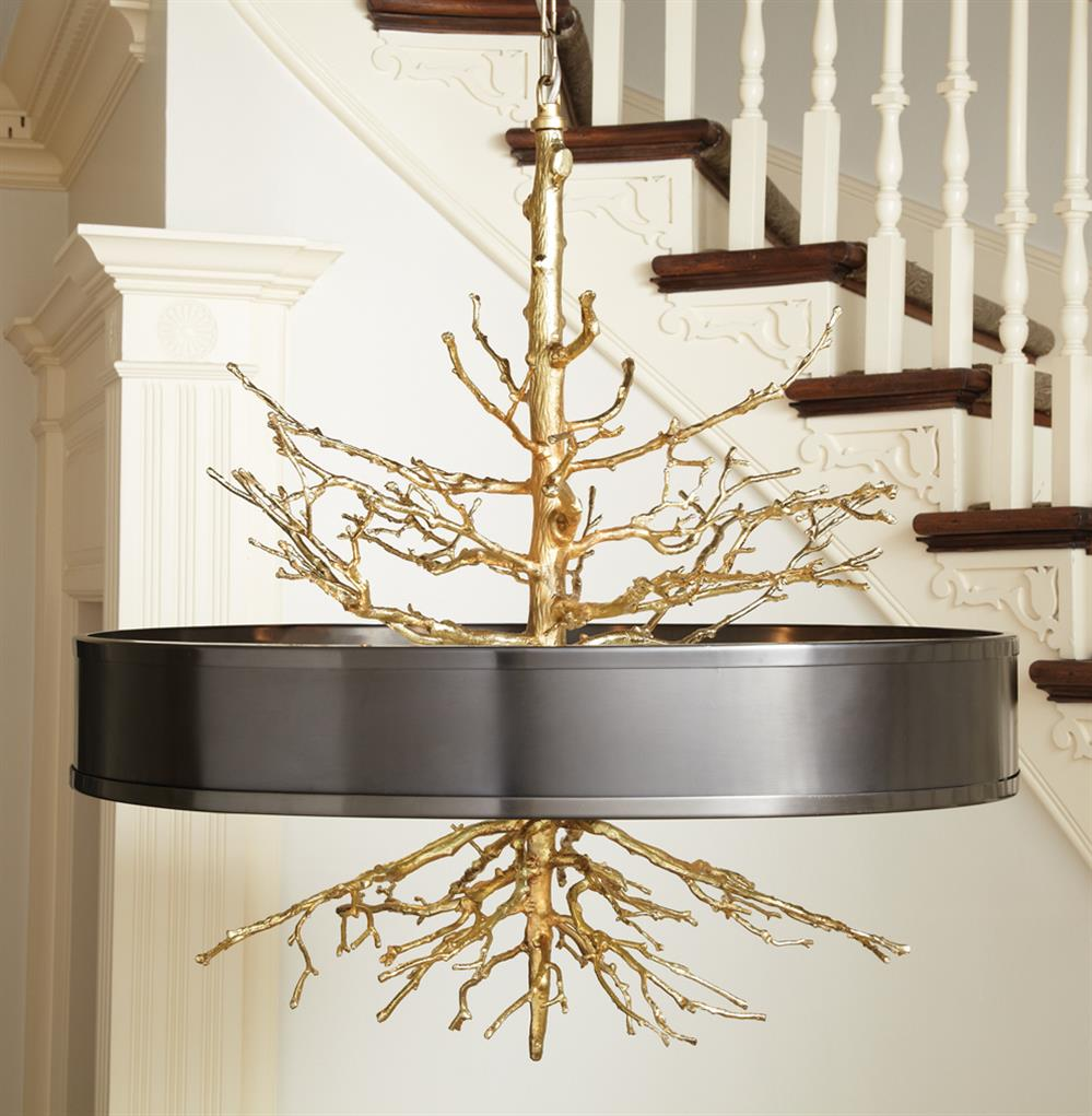 Bijou Tree Branch Hollywood Regency Br Bronze Ceiling Pendant Lamp Kathy Kuo Home View Full Size