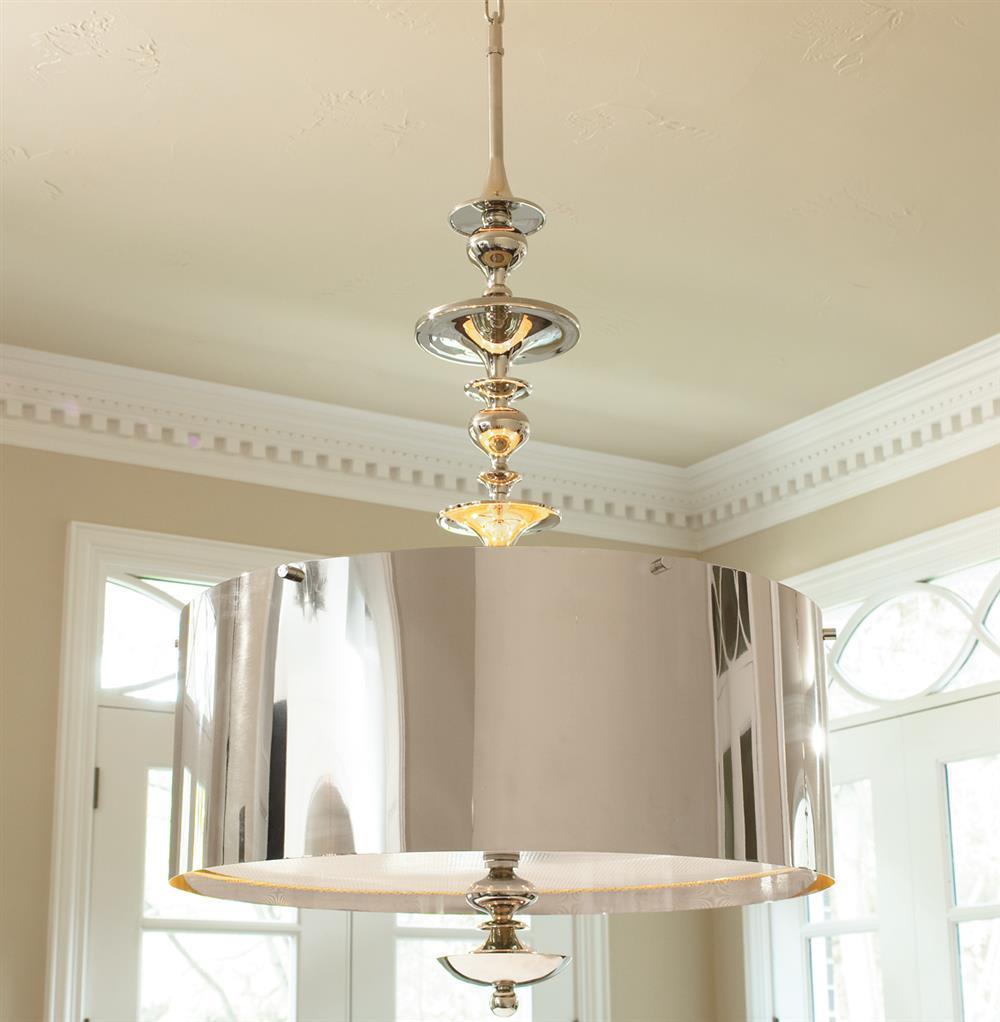 Karel Polished Nickel Hollywood Regency Pendant Lamp 39
