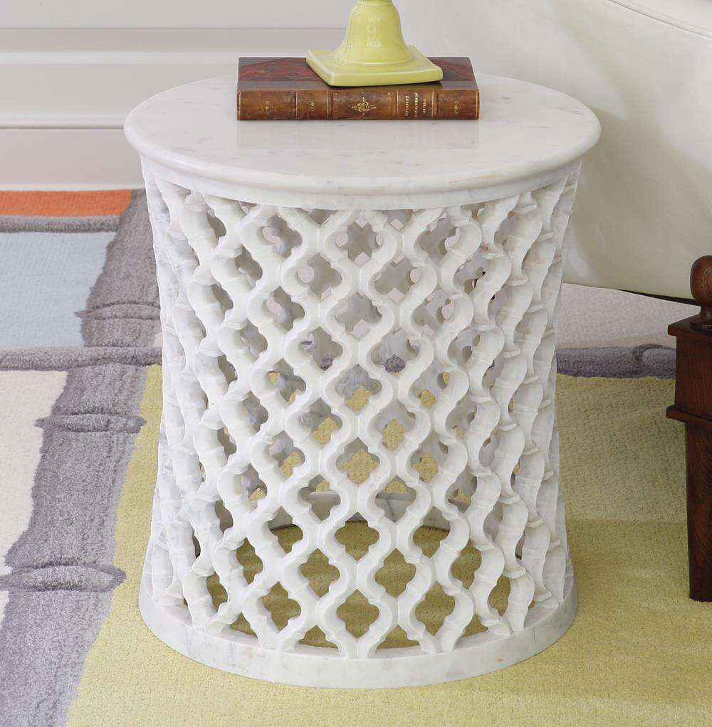 Mamounia Global Bazaar White Marble Fretwork Round Side Table - Round lattice coffee table