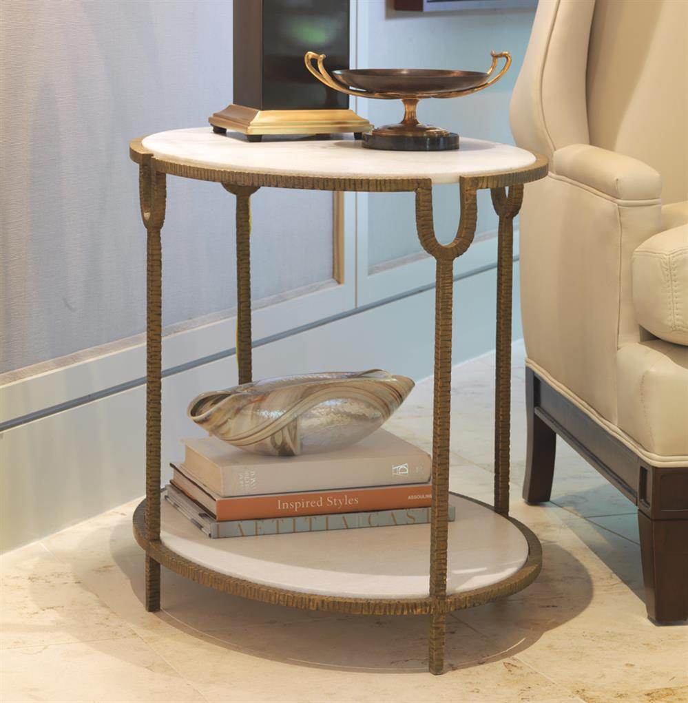 Katherine Hollywood Regency Ivory Stone Oval Side End Table