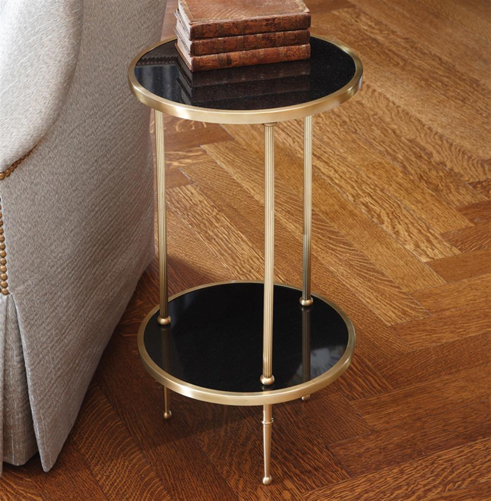 trianon hollywood regency brass black marble side table. Black Bedroom Furniture Sets. Home Design Ideas