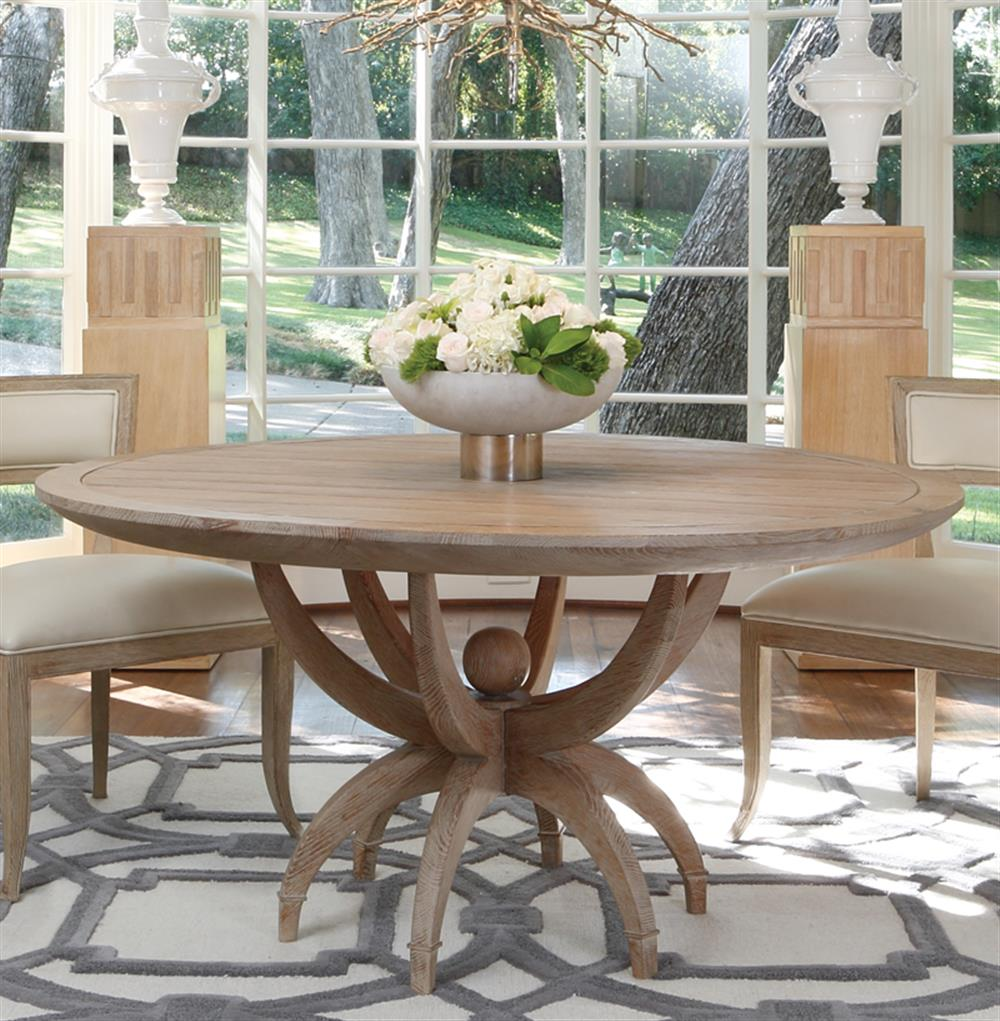 Atticus Coastal Beach White Oak Contemporary Round Dining Table | Kathy Kuo  Home · View Full Size ...