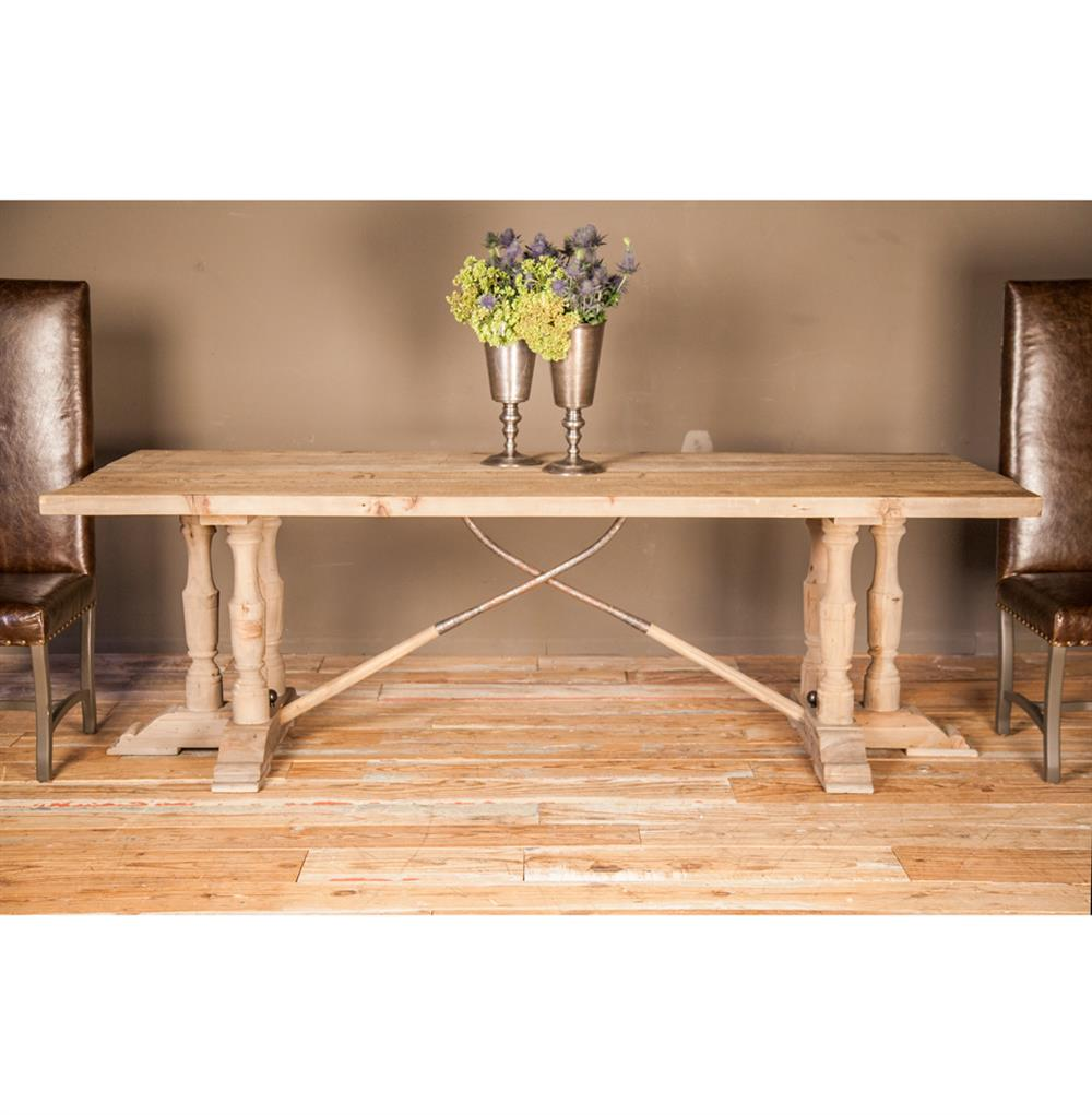 Country Reclaimed Pine Wood Trestle Dining Table Kathy Kuo Home