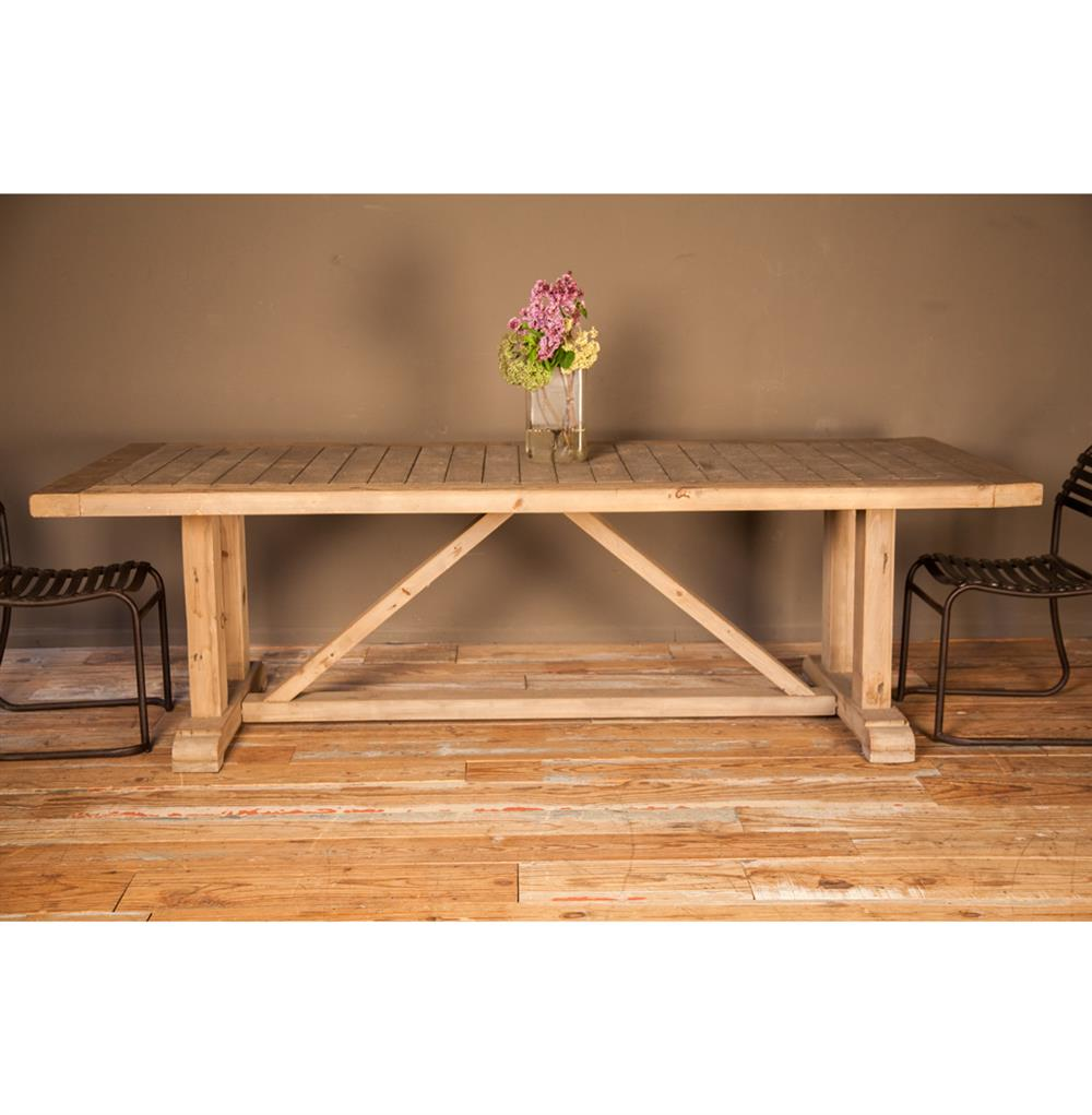 French country slatted pine wood trestle dining table kathy kuo home