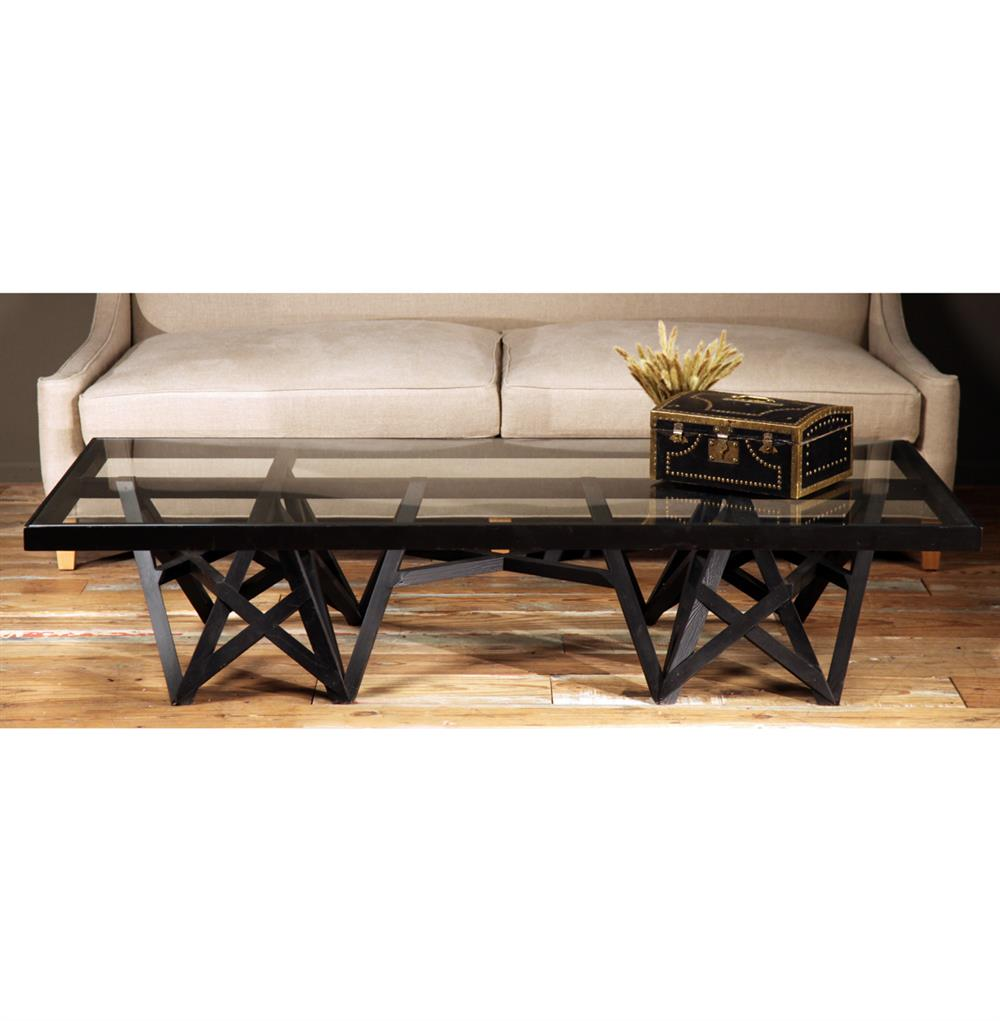 Zimoun Industrial Loft Glass Black Wood Rectangular Coffee Table Kathy Kuo Home