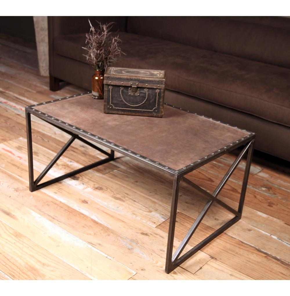 Rollins Industrial Loft Bronze Iron Coffee Table: Gispen Industrial Loft Leather Iron Rectangular Coffee Table