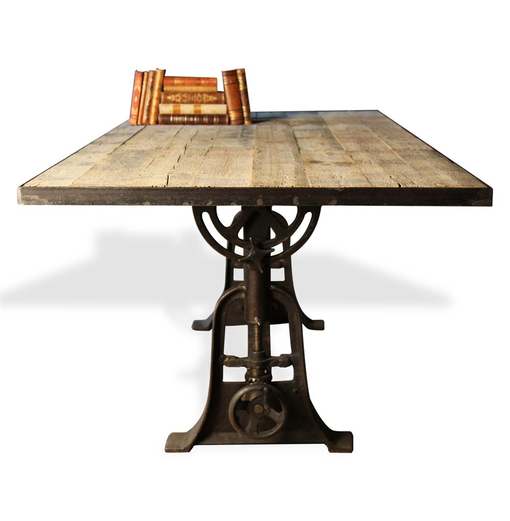 Monterrey industrial loft iron reclaimed wood adjustable for Iron dining table