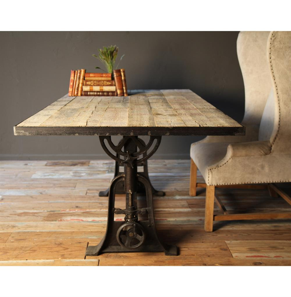 ... Monterrey Industrial Loft Iron Reclaimed Wood Adjustable Height Dining  Table   71 Inch | Kathy Kuo