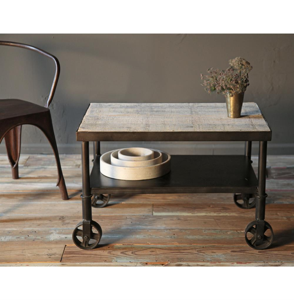Industrial Coffee Table Cart Belker Industrial Loft Reclaimed Wood Iron Casters Cart Side Table
