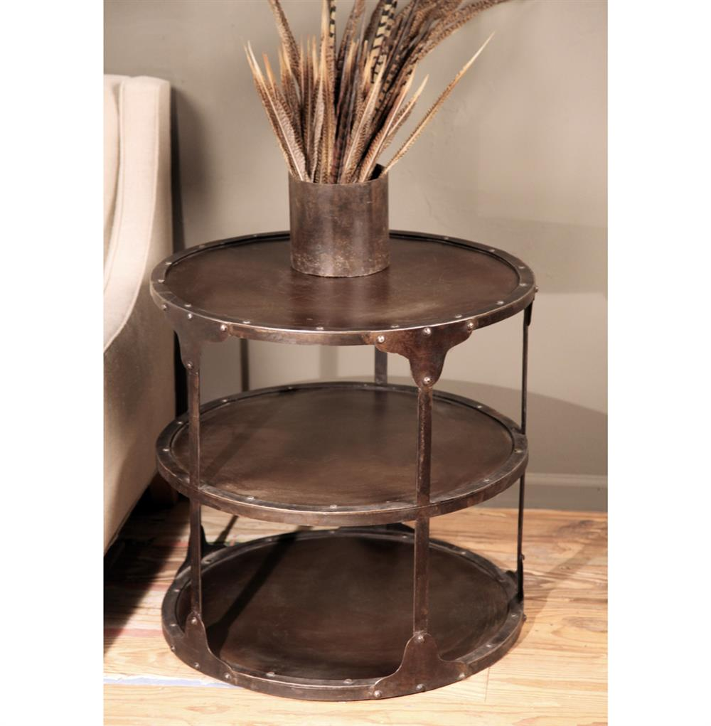 Alfons Industrial Loft Round 3 Tier Metal Side Table