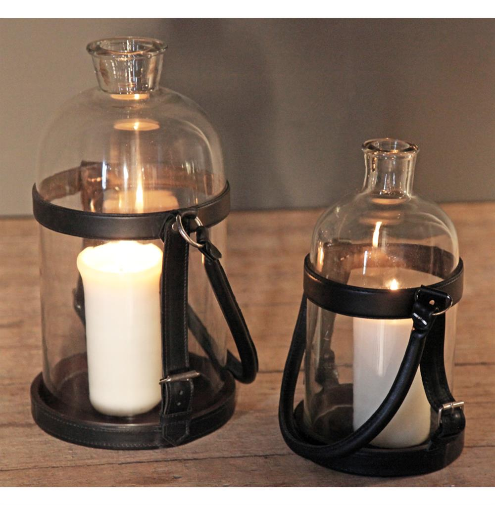 Sven Rustic Lodge Glass Leather Lantern Candle Holder