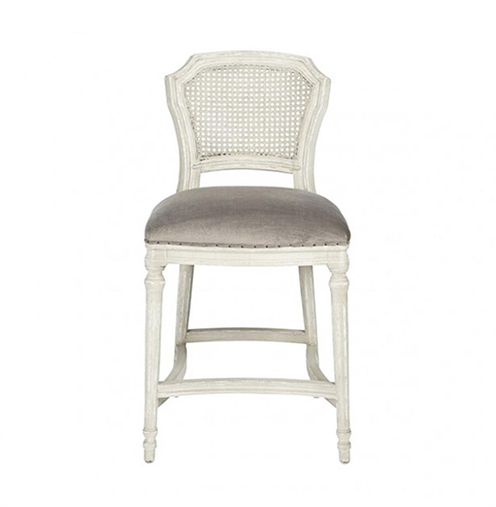 Camilla French Country White Grey Velvet Counter Stool  : product66391 from www.kathykuohome.com size 1000 x 1021 jpeg 41kB
