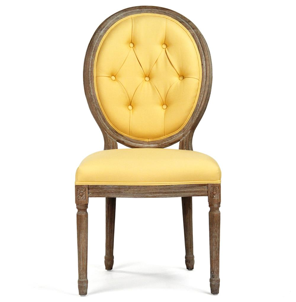 Yellow Dining Room Chairs: Madeleine Oval Tufted Yellow Linen Limed Oak Dining Side Chair
