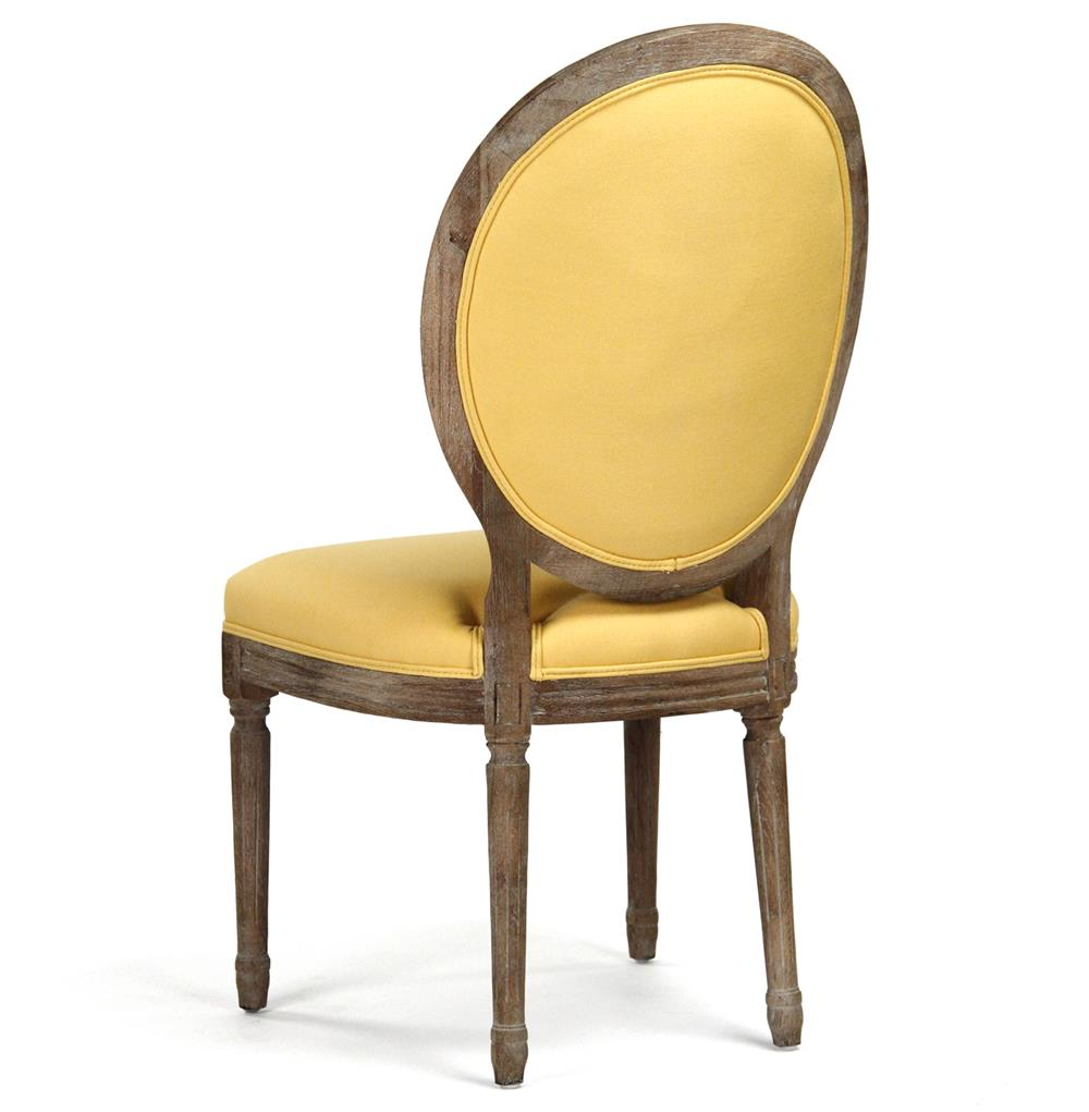 Yellow Dining Chairs: Madeleine Oval Tufted Yellow Linen Limed Oak Dining Side Chair