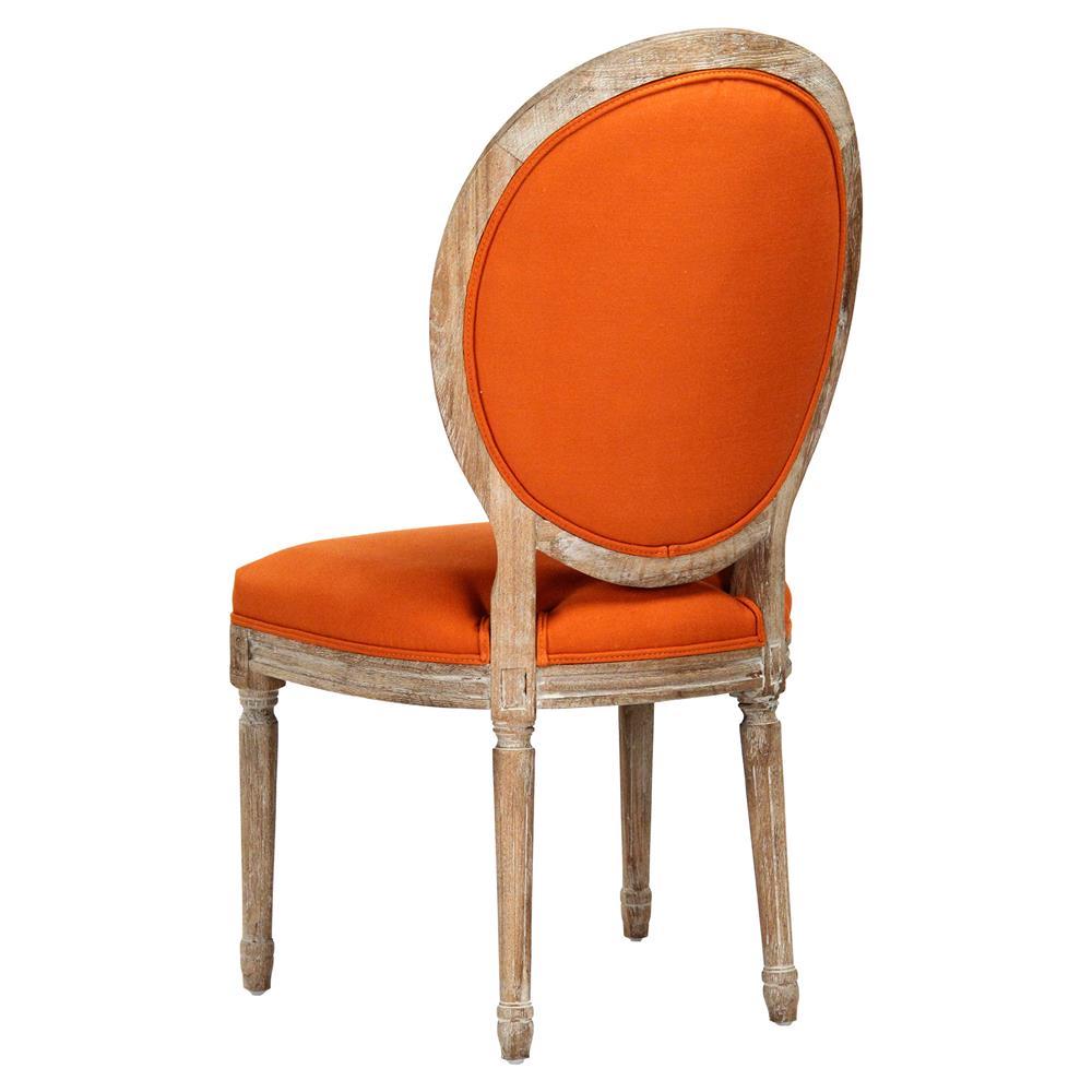 Pair Madeleine Oval Tufted Orange Linen Limed Oak Dining