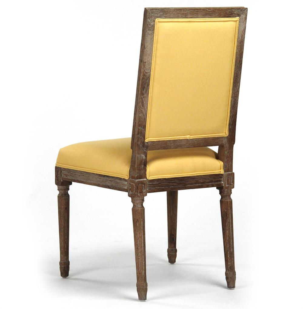 Pair Louis XVI Yellow Tufted Linen Dining Side Chair ...