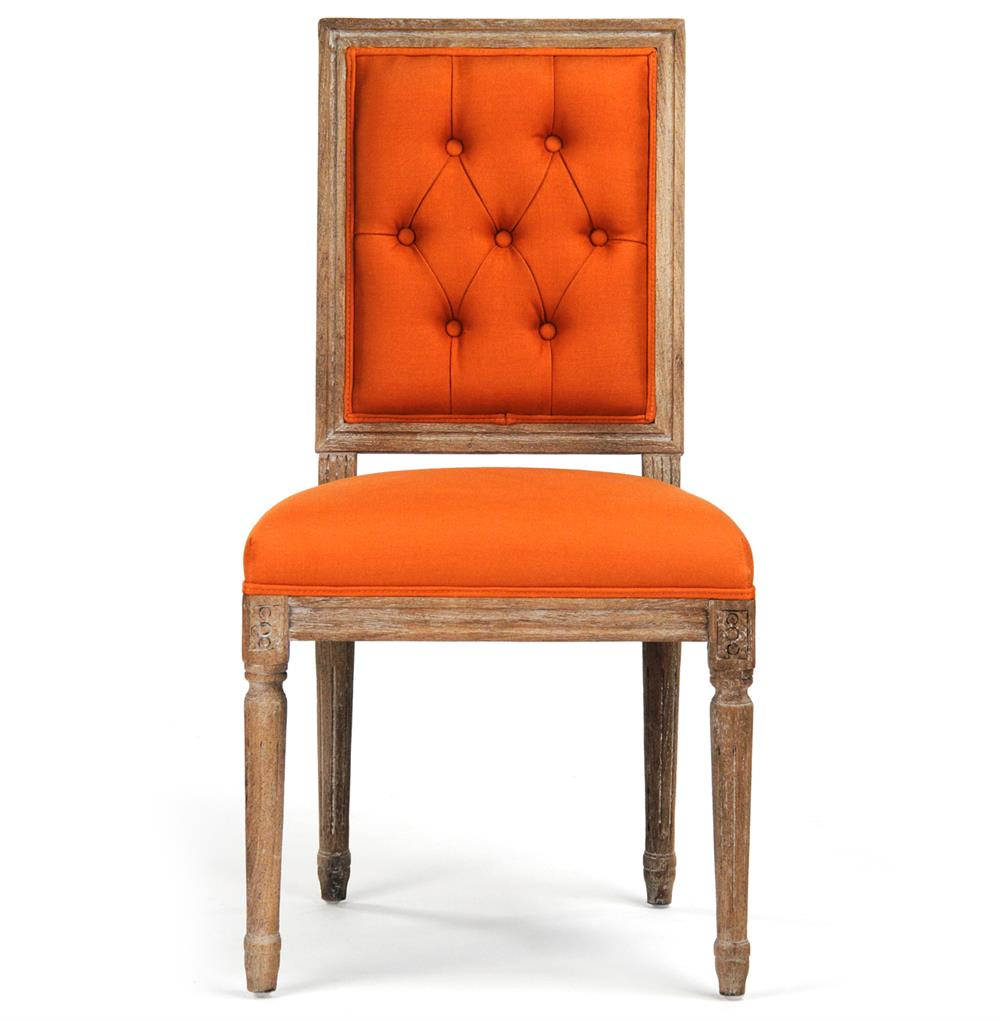 view full size ...  sc 1 st  Kathy Kuo Home & Pair Louis XVI Orange Tufted Linen Dining Side Chair | Kathy Kuo Home