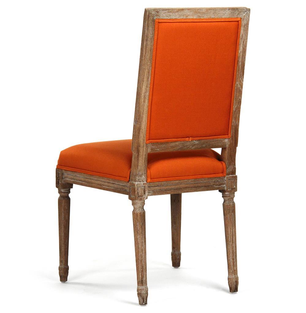 Pair Louis Xvi Orange Tufted Linen Dining Side Chair