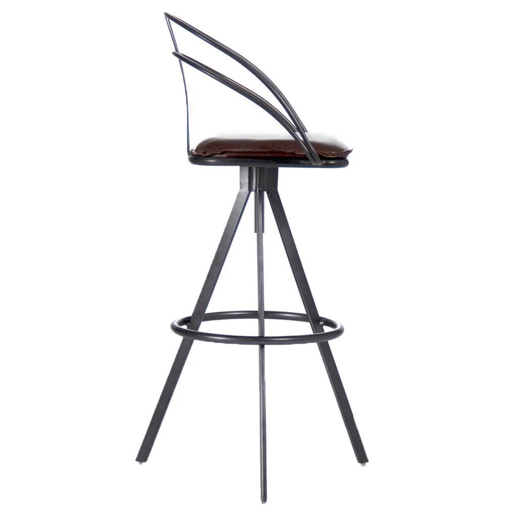 Blackthorne Industrial Loft Adjustable Height Leather Bar