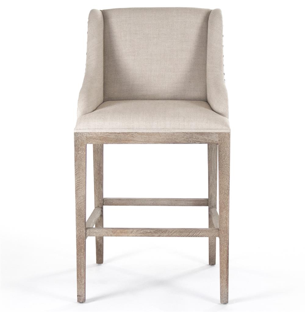 Corneille French Country Limed Oak Linen Bar Stool Kathy  : product67581 from www.kathykuohome.com size 1000 x 1022 jpeg 58kB