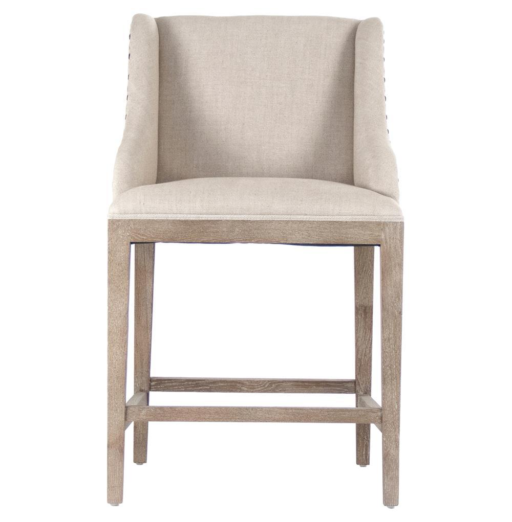 8f4d3ed89133 Corneille French Country Limed Oak Linen Counter Stool