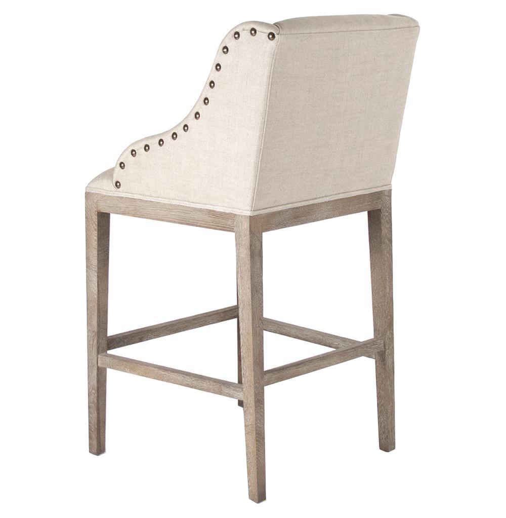 Oak Bar Stools Counter: Corneille French Country Limed Oak Linen Counter Stool