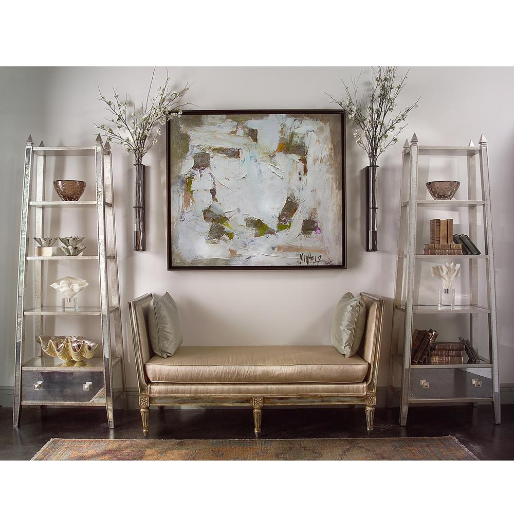John Richard Aurora Hollywood Regency Silver Leaf Mirrored Etagere
