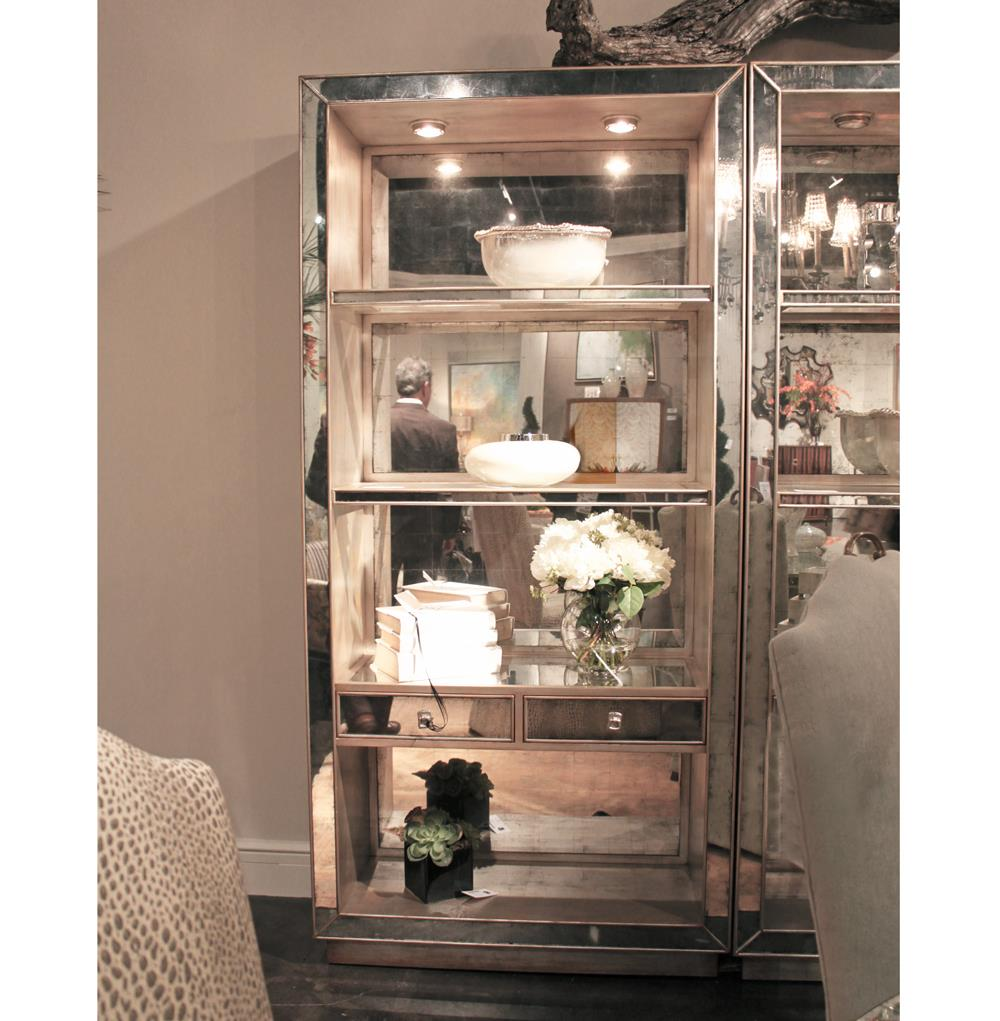 Hollywood Regency Silver Leaf Mirrored Illuminated Display Cabinet