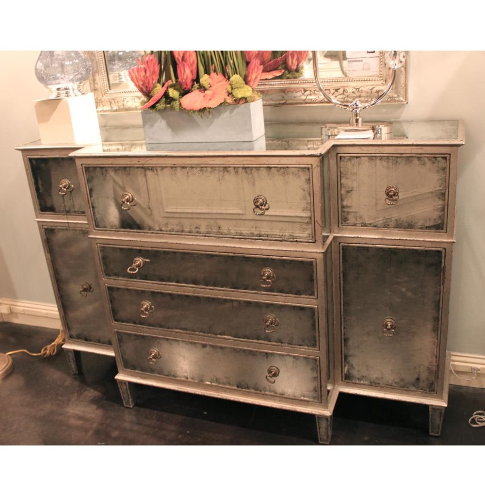 Silver Dresser: John-Richard Abigail Hollywood Regency Silver Leaf