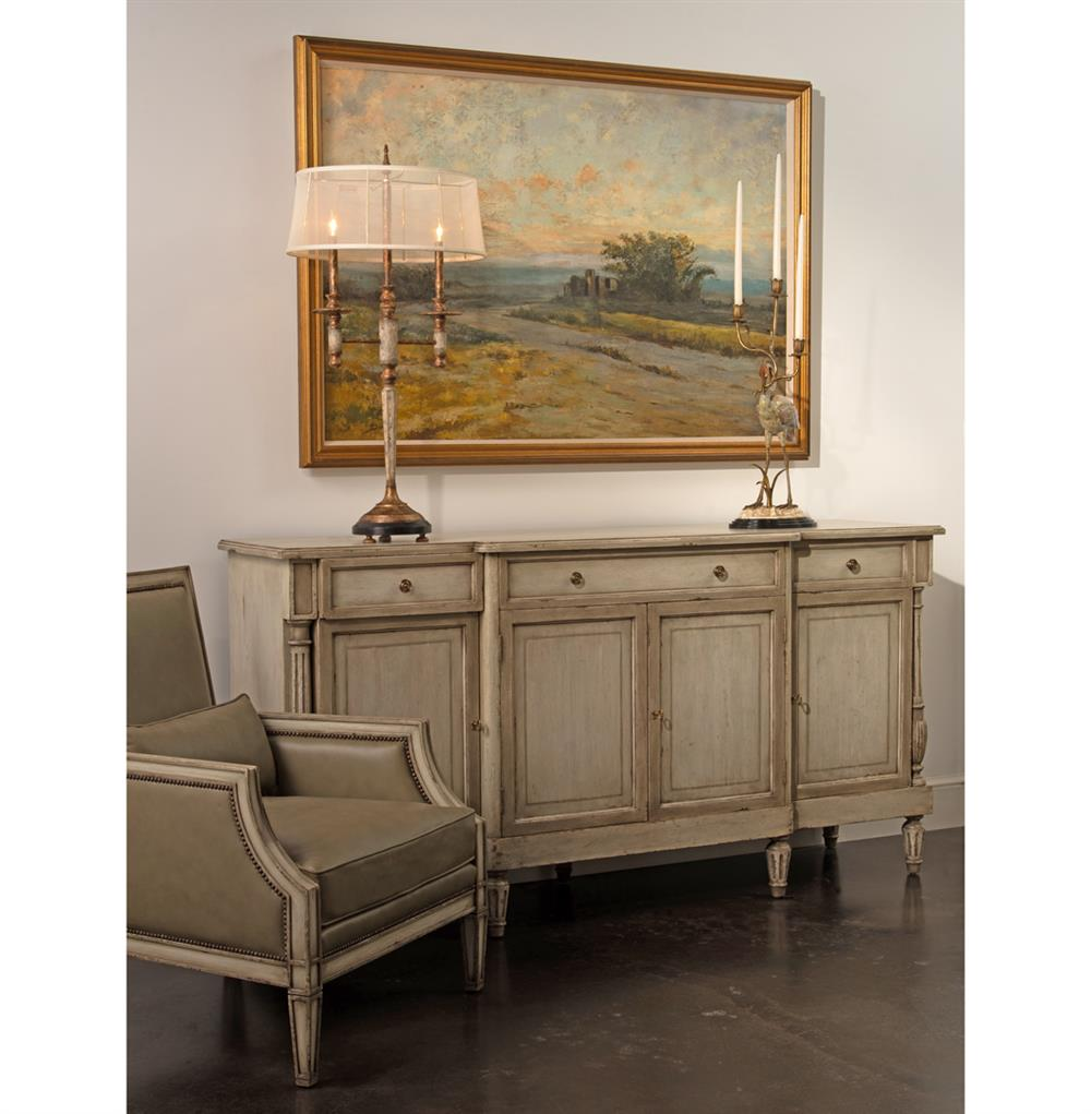Delphine French Country Two Tone Antique Taupe Grey Sideboard Buffet |  Kathy Kuo Home - Delphine French Country Two Tone Antique Taupe Grey Sideboard