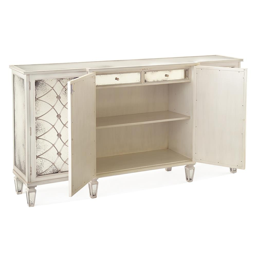 white mirrored sideboard bonet regency grillwork antique white mirrored 1054