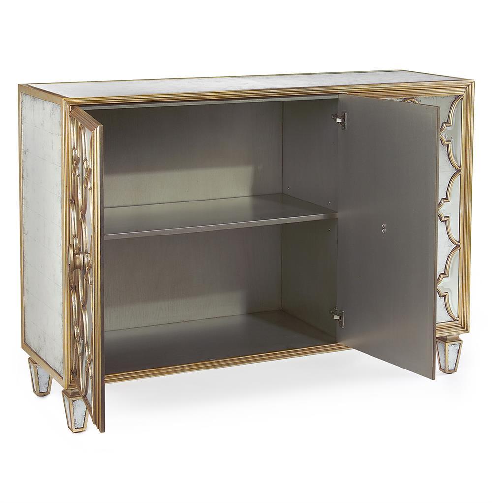 Babette hollywood regency silver leaf mirrored gold for Sideboard gold