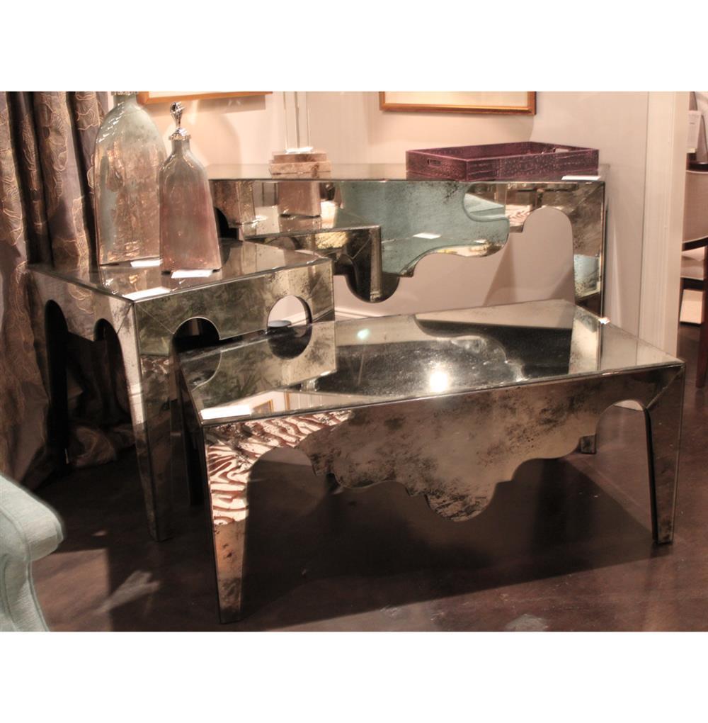 Evangeline Hollywood Regency Antique Mirror Scalloped