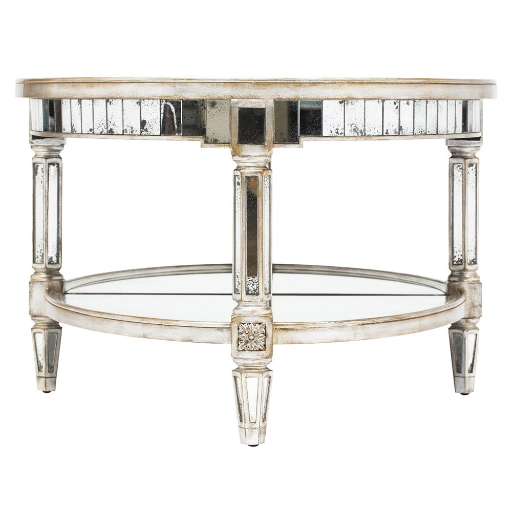 Kendrick Hollywood Regency Silver Antique Mirror Coffee Table | Kathy Kuo  Home - Kendrick Hollywood Regency Silver Antique Mirror Coffee Table