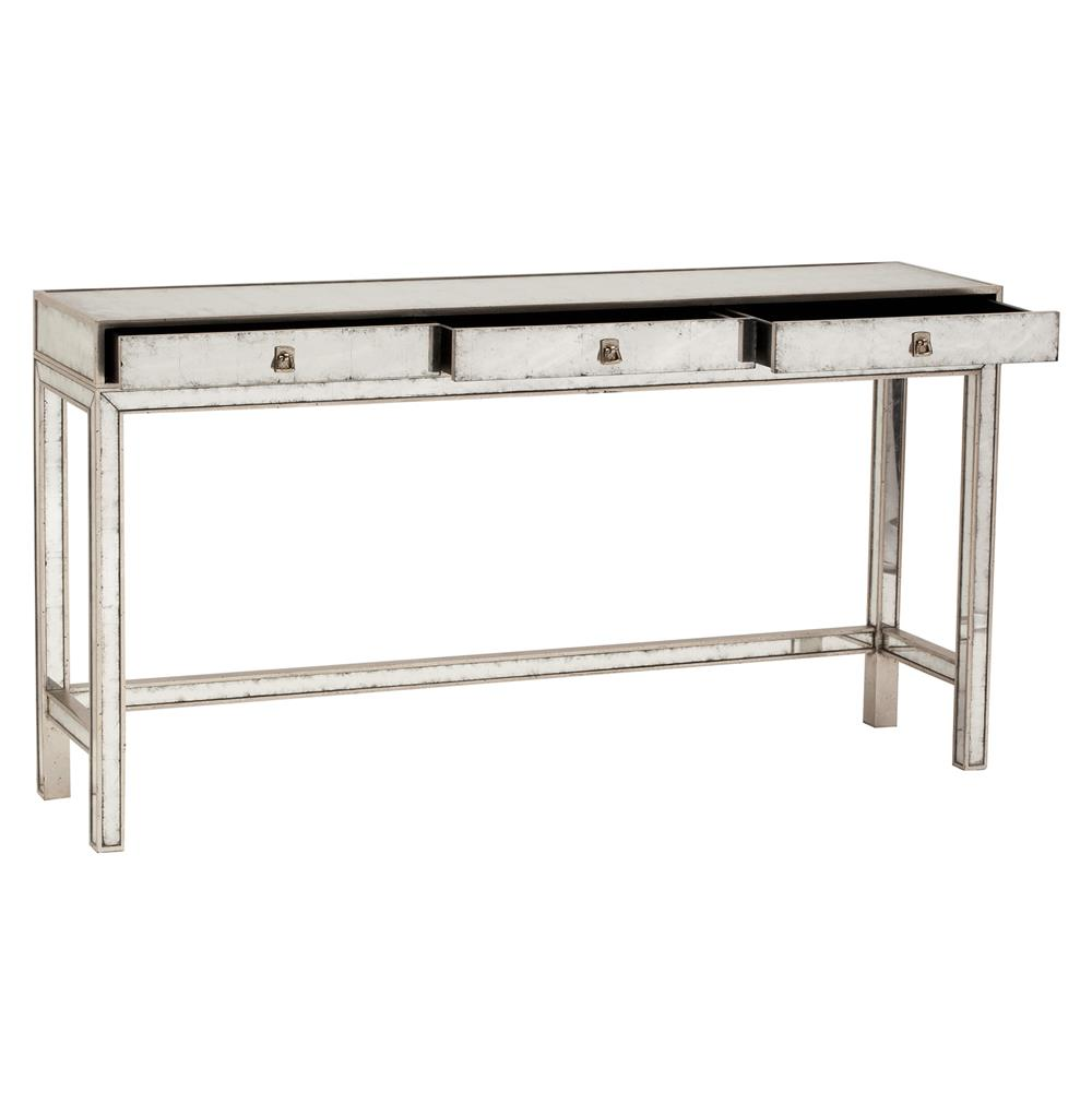 Nixon Hollywood Regency Silver Leaf Mirror 3 Drawer Console Table | Kathy  Kuo Home